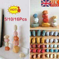 Baby Toy Creative Wooden Colored Stacking Balancing Stone Building Blocks UK