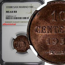 San Marino Bronze 1938-R 10 Centesimi NGC MS64 RB Mintage-400,000 KM# 13