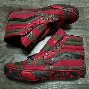 VANS House of Terror Nightmare on elm street SK8-HI Freddy Krueger shoes Sz 10.5