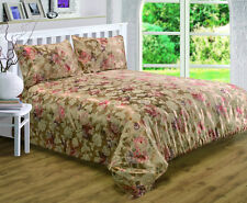 DOUBLE BED ANASTASIA DUVET COVER SET TRADITIONAL FLORAL JACQUARD GOLD TERRACOTTA