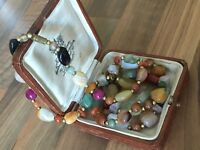 Vintage Art Deco Natural Stones Agate Beaded Necklace 95gr