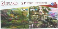 Deluxe Puzzle 2 Pack -Two 1,000 PC. Jigsaw Puzzles - Cottage/Country Home Garden