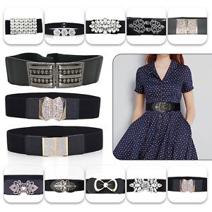 Women Ladies Wide Fashion Belt Black with Buckle Waist Belt Elastic Stretch Gift