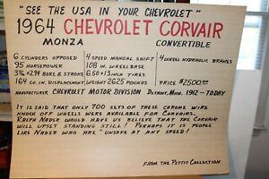 VINTAGE 1964 CHEVROLET CORVAIR MONZA CONV. PETTIT AUTO MUSEUM DISPLAY POSTER