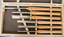 Set of 6 Top Quality HSS Wood Turning Chisels Gouges in Wooden Box From Chronos