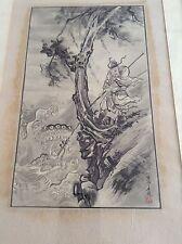 Antiguo Antigua Pintura Los pescadores Dragón Chino Coreano acuarela enmarcado de desplazamiento