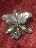 Vintage Large Orchid Flower Silver Metal Brooch Pin Matte Shiny 2 Tone 3D
