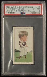 1928 WA&AC Churchman RT BOBBY JONES #27 PSA 6 EX-Mint Small Golf Card