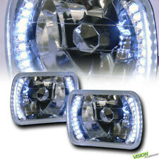 7X6 Crystal Chrome Glass Lens White Led Headlights Lamps H4 H6052 H6054 H6014 V4