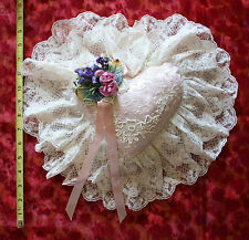 """VICTORIA'S GARDEN NEW PINK SATIN & IVORY LACE 15 1/2"""" x 14 1/2"""" BED PILLOW ROSES"""
