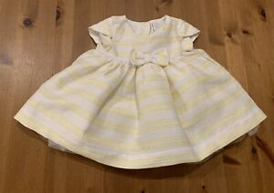 Janie & Jack Girls 3-6M Yellow, White, Shiny Gold Thread Striped Dress 2019