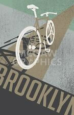 "BROOKLYN INDUSTRIES  - BIKE PERSPECTIVE(TAN) - ART PRINT POSTER 11"" x 14"" (4304)"