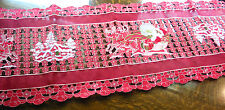 "Christmas Embroidered Table Runner Cut Work Red 16"" x 70"" Santa Deers Fun"