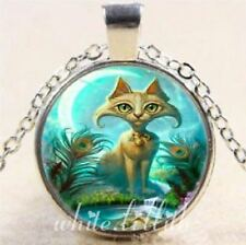 Cute Cat and Peacock Feathers Glass Dome Pendant Silver Colour Necklace Chain