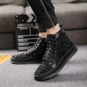 Mens punk Rivet Sequins shiny Lace Up Athletic Studded  High Top Sneaker Shoes