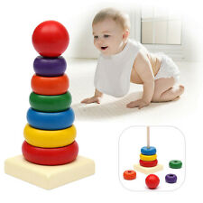 Baby Stacking Stack Up Nest Rainbow Tower Ring Learning Education Wooden Kid Toy
