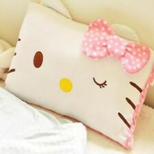Stylish Pink Throw Pillow Case Hello Kitty Face Design Soft Bed Decorative Kids