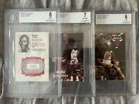 1984-85,85-86,87-88 Chicago Bulls Schedules MICHAEL JORDAN Pre Fleer Rookie BGS
