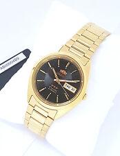 ORIENT 3 Star Automatic Watch Mens Gold tone Watch Black dial FAB00004B9 w box