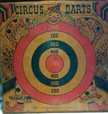 AUTHENTIC WOODEN Circus Darts BANNER SIGN PAINTED Antique Wolverine Supply CO BG