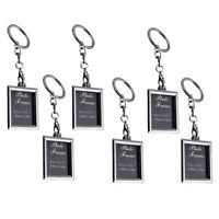 6Pcs Mini Photo Frame Metal Keychains Key Rings Keyfob Gift for Couple & Family