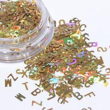 Decor Laser Nail Glitter Nail Paillette Holographic Sequins 26 Letters Design