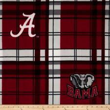NCAA  University of Alabama Fleece Plaid Camo Fabric by the yard