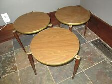 3 Vintage Stackable Wood Side Tables Retro Mid Century Modern Eames BRASS ACCENT