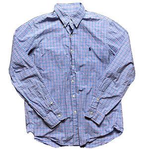 Polo Ralph Lauren Button Dress Shirt Size L checkered pink blue