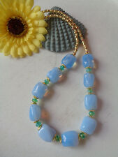 Außergewöhnliche edle Halskette Blue Opal Maltglas Toho-Goldmix UNIKAT