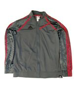 Adidas Climalite Track Jacket Zip Up Dark Gray Red Mens Size X-Large XL Preowned