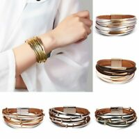 Fashion New Multi-layer Punk Leather Bracelet Bangle Fashion Women Men Jewelry