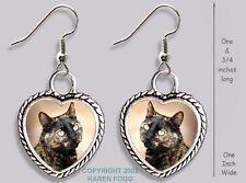 Tortiseshell Shorthair Cat - Heart Earrings Ornate Tibetan Silver