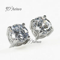 9K GF 9CT WHITE GOLD MADE WITH SWAROVSKI CRYSTAL EARRINGS STUD 8MM