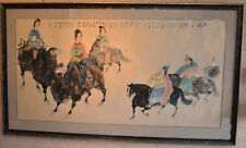 Brush and Ink Painting on Paper Chinese Tang Style  Framed 88.5x153cm