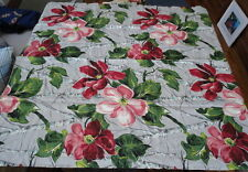 1930's Vintage Bark Cloth Sample Tagged Red Dog Wood Florals 100% Cotton Lg.