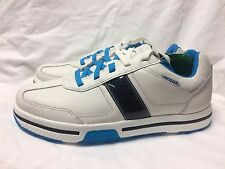 New Crocs Men's Flagstaff Golf Shoes, White / Ocean Blue, Size 9