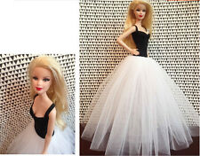 Fashion Black and White Gauze Skirt  Evening Dress Outfit Gown For Barbie Doll