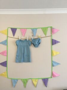Pretty Striped Baby Boden Dress With Knickers - 6-12 M - Great Condition