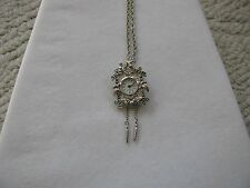 VINTAGE CHAIN LINK NECKLACE WITH REGENT MARCASITE CUCKOO CLOCK WATCH PENDANT