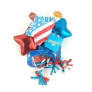 BARK Star Spangles 3 Plush Thrasher Tug Rope Dog Toys Play Fetch for M-XL Dogs