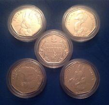 All 5 Beatrix Potter 50p coins Peter Rabbit Jemima Tiggy-winkle Squirrel Nutkin