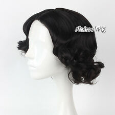 For Princess Snow White Black 40CM Short Curly Hair Anime Cosplay Wig