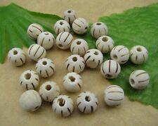 50pcs White wood beads pumpkin round Spacer 10MM