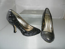 Lucy Lockett Heels Style Wows in Black Pewter Sequins size 39 NEW - W1-514