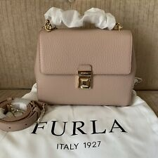 FURLA JOANN MOONSTONE PINK SMALL Crossbody Bag Cow Leather Top Handle RRP629