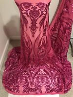 """Fuchsia Stretch Sequins Embroidered Mesh Lace  Fabric 50"""" Width Sold By The Yard"""