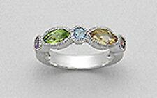 5mm Wide Solid Sterling Silver Milligrain Ring Peridot, Citrine, Blue Topaz Sz6