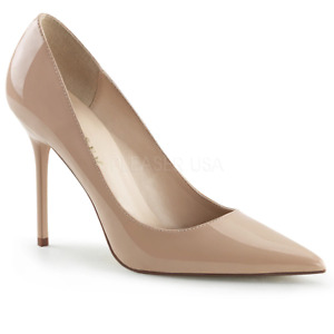 Pleaser Sexy High Heels Office Formal Cocktail Pointed Toe Nude Stilettos
