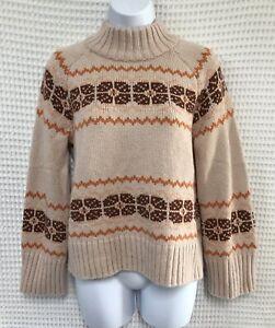 Madewell Sweater Small Tan Brown Fair Isle Mock Neck Pullover Raglan Sleeve